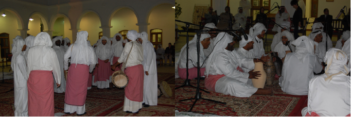 Fig. 2 : représentation de chants traditionnels de pêcheurs en clôture du congrès Kuwait Through the Ages. Through Monumental Witnesses and Historical Sources, organisé par le NCCAL du Koweït en mars 2014 : les chanteurs (nahhams) sont accompagnés de tambours ou de vases à eau (aihlas) (J. Bonnéric 2014)