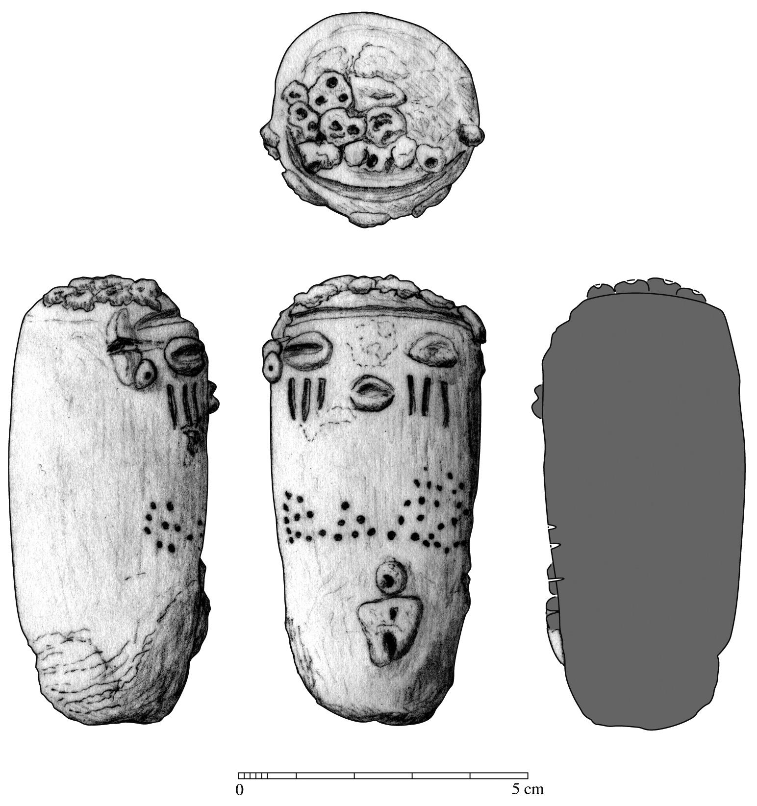 Fig. 3 : dessin manuel d'une figurine en argile crue. Crayon sur calque scanné, contours et section vectorisés (H. David-Cuny, Louvre-DAE-Mission Mouweis 2012)