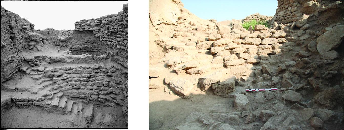 Fig. 4 : le puits de l'âge du Bronze au moment de sa découverte par la mission danoise (à gauche, Moesgaard Museum 1960) et au début de son redégagement par la MAFKF en 2016 (à droite, MAFKF 2016).