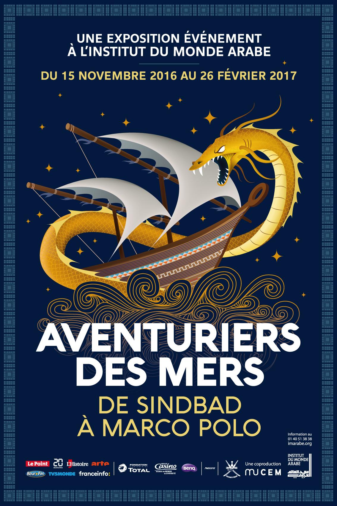Fig. 1 : affiche de l'exposition « Aventuriers des mers » présentée à l'IMA de Paris © IMA.