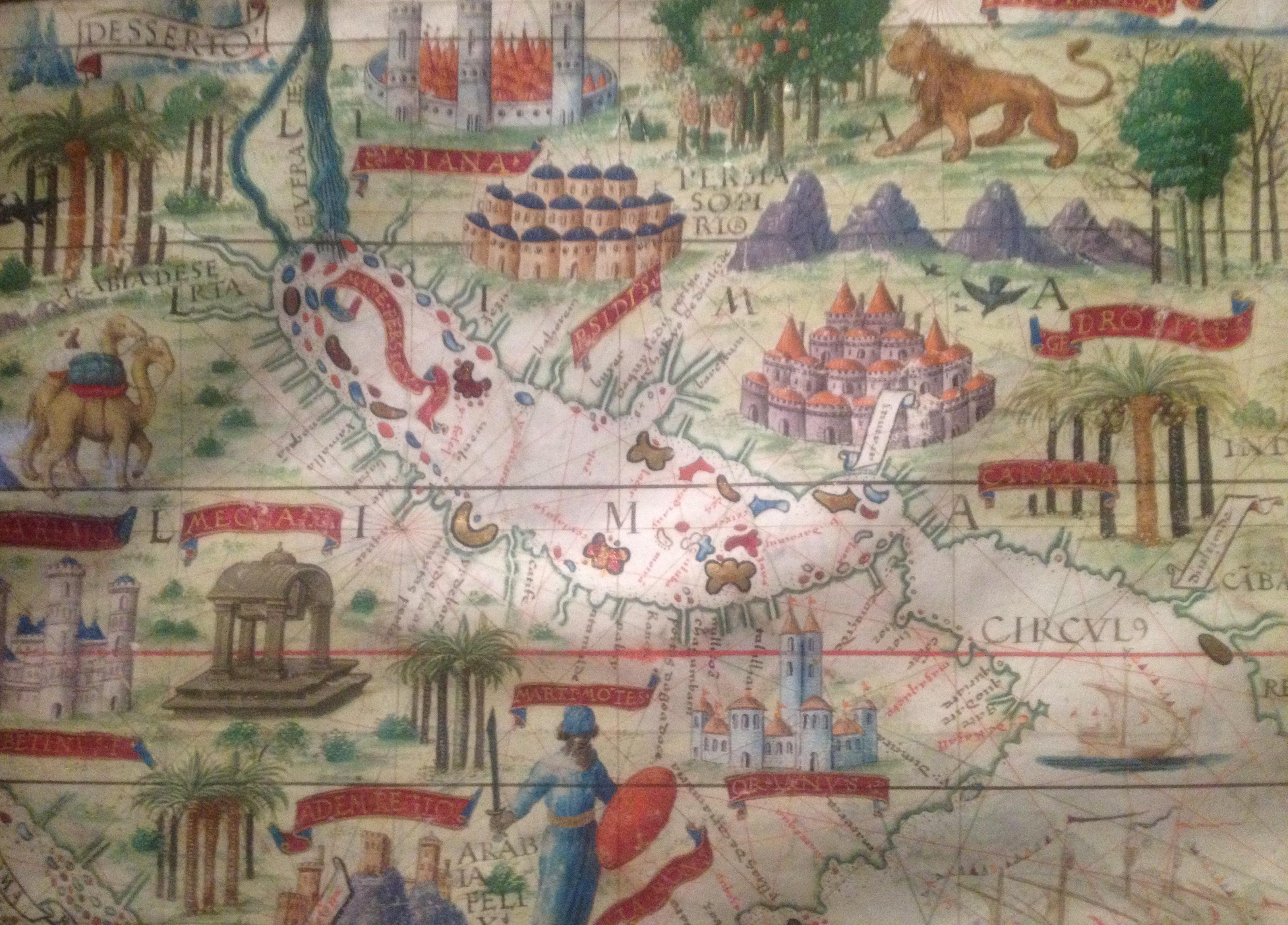 Fig. 2 : le golfe Persique représenté sur une carte de l'Arabie, de l'océan Indien et de l'Inde provenant de l'Atlas Miller, chef d'œuvre de la cartographie portugaise du début du XVIe s composé par Lopo Homen, Pedro et Jorge Reinel, Antónion de Holanda (enluminure sur vélin, 1519, Paris, BnF).