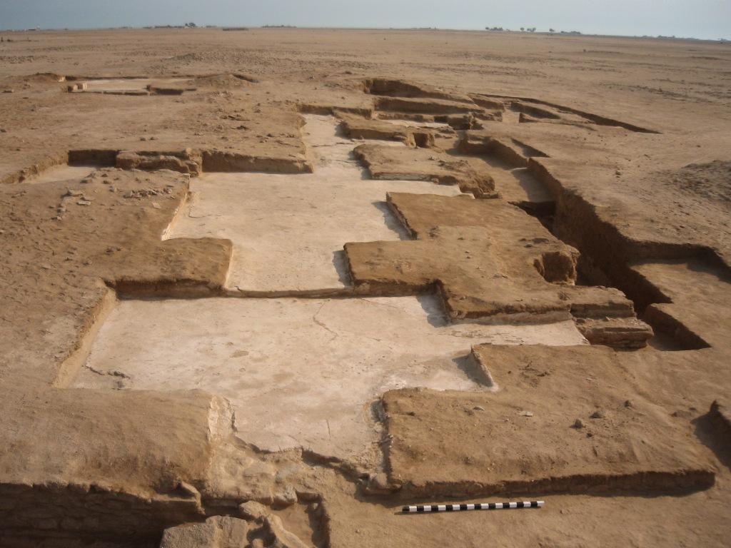 Fig. 1 : Collatéral sud et partie sud du narthex de l'église monumentale d'al-Qusur, depuis l'ouest (NCCAL/DAM 2007).