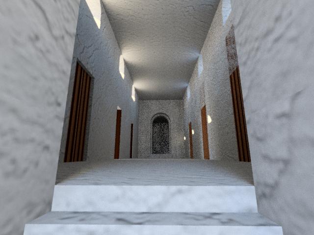 Fig. 4 : Rendu 3D de l'intérieur de la nef centrale de l'église d'al-Qusur sans les décors en stuc (C. Raad © MAFKF).