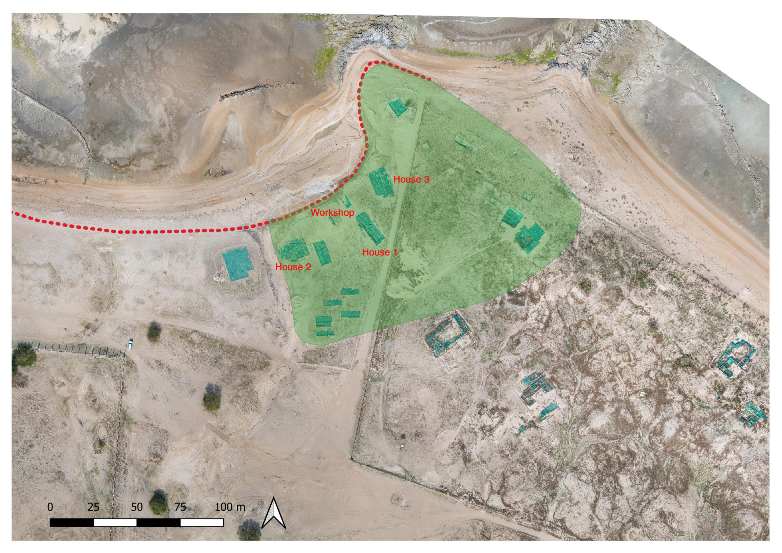 Fig. 1: Orthophoto of al‑Qurainiyah site: in red the ancient coast line; in green the early Islamic village extension.